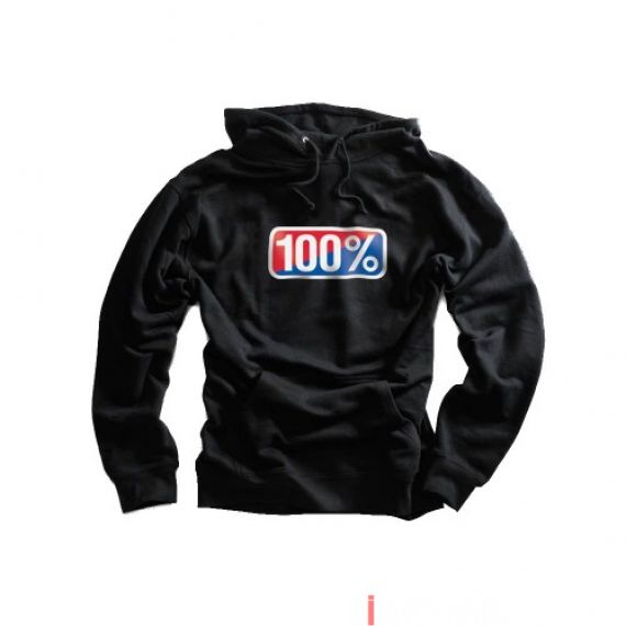 100% - FLEECE - CLASSIC HOODED SWEATSHIRT - BLACK Size S