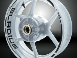Suzuki Gladius Motorcycle Rim Wheel Decal Accessory Sticker Color=Reflective Black(RB)