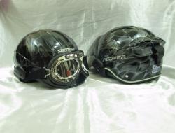 Silver Black Space Crown Trooper Half Chopper Helmet