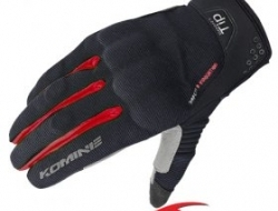 Komine 3D Protect Mesh Gloves - Black/Red - Size M