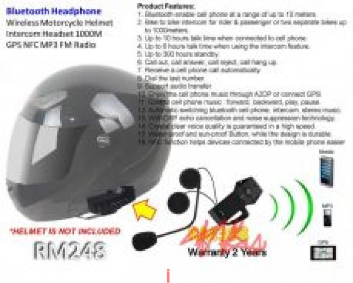 Bluetooth Headphone Wireless Motorcycle Helmet