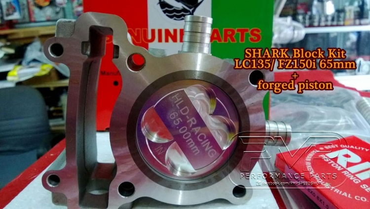 Cylinder Block 65mm SHARK Ceramic Coated Yamaha LC135 / Crypton X / FZ150i  / Jupiter MX / Sniper 135